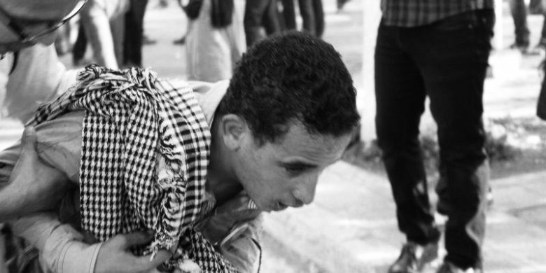 Here Khaled was injured as a result of participating in the post-revolution demonstrations in Egypt.