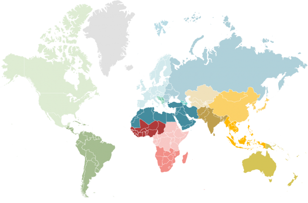 World map with all regions